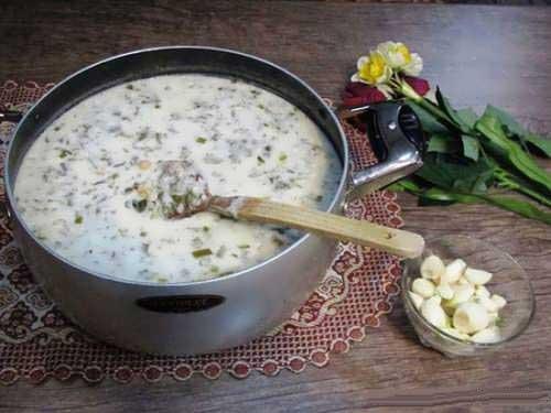 طرز تهیه آش دوغ گدوک
