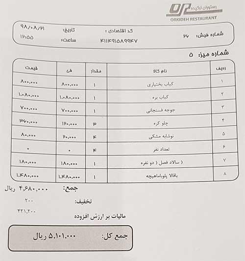 لیست قیمت رستوران ارکیده تهران