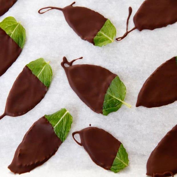 برگ نعنا با شکلات تلخ