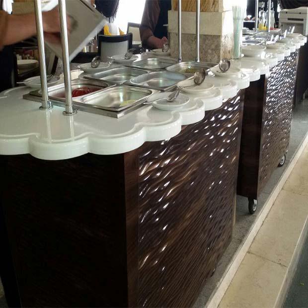 خط سلف سرویس رستورانی طرح چوبی