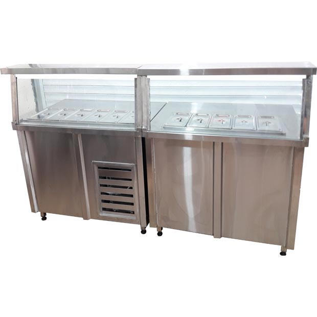 خط کانتر سرد و کانتر گرم آشپزخانه سلف سرویس