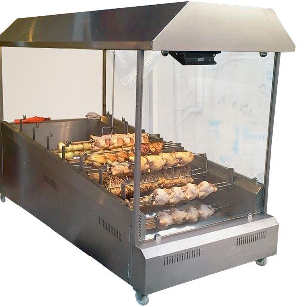 دستگاه جوجه گردان چیکن ذغالی هشت سیخ با هود و شیشه