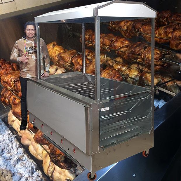 دستگاه مرغ بریان ذغالی ده سیخ با هود و شیشه