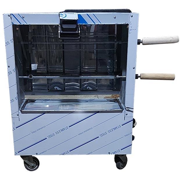 دستگاه مرغ بریان کن 2 سیخ خانگی کوچک با نور هالوژن