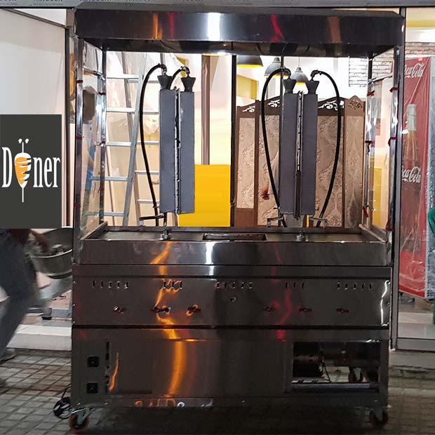 دستگاه کباب ترکی دو سیخ مبله با هود و شیشه