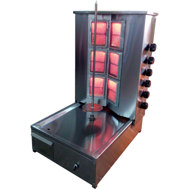 دستگاه کباب ترکی رومیزی یک سیخ استیل با شش شعله