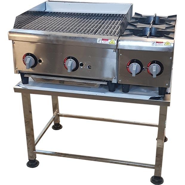 دستگاه گریل ذغالی و اجاق گاز دو شعله فست فودی طرح APW