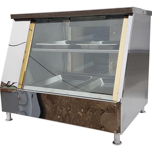 دیسپلی فست فود چهار سینی گرمکن ویترینی دو طبقه