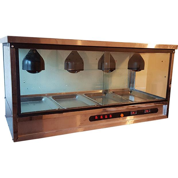 دیسپلی ویترینی گرمکن سیب زمینی مرغ سوخاری 4 سینی با لامپ حرارتی
