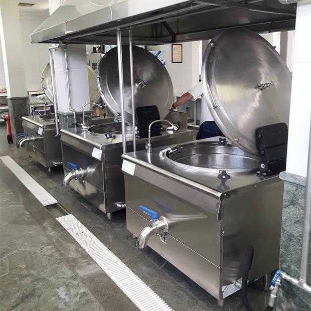 دیگ مکانیزه پخت برنج و خورشت سه جداره صنعتی 350 پرسی