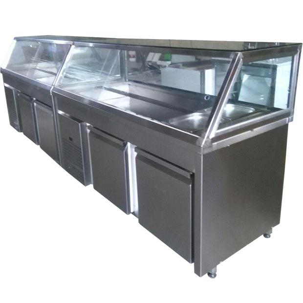 سالاد بار رستورانی زیر یخچالی ده لگن دو متری با پیشخوان شیشه ای