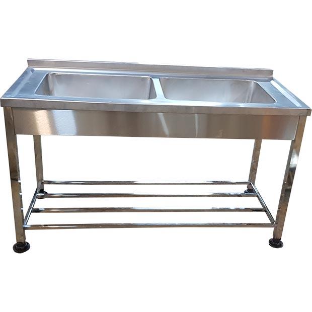 سینک دو لگنه صنعتی ظرفشویی بدون سینی