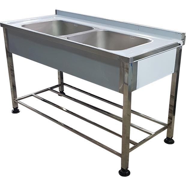سینک صنعتی پرسی ظرفشویی دو لگن استیل کارگاهی طول 150 سانتیمتر