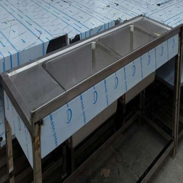 سینک ظرفشویی استیل رویه جوشی دو لگن پایه دار