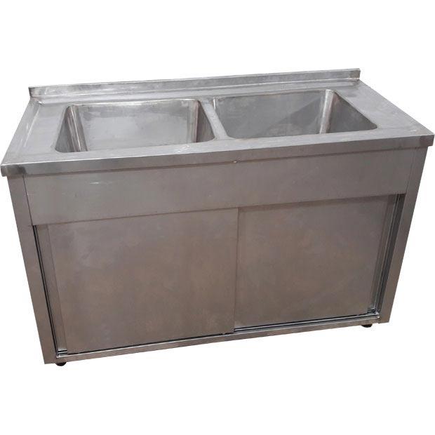 سینک ظرفشویی صنعتی دولگن کابینت دار با دو درب کشویی ریلی