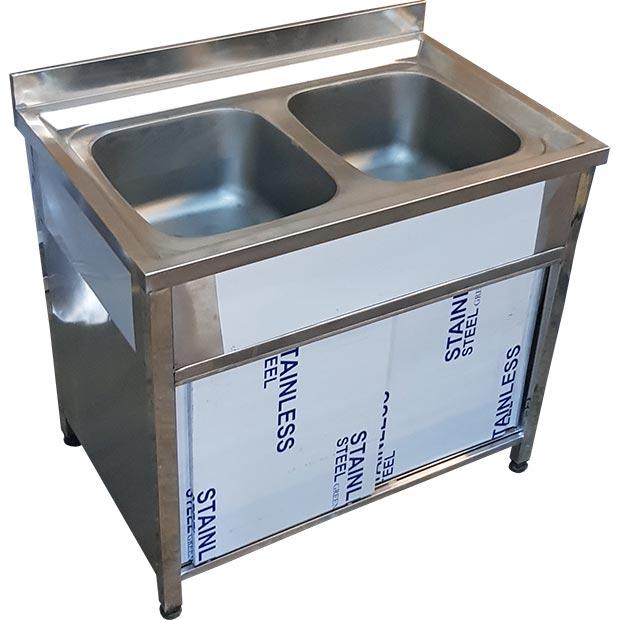 سینک ظرفشویی صنعتی کابینتی دو لگنه یک متری رستورانی