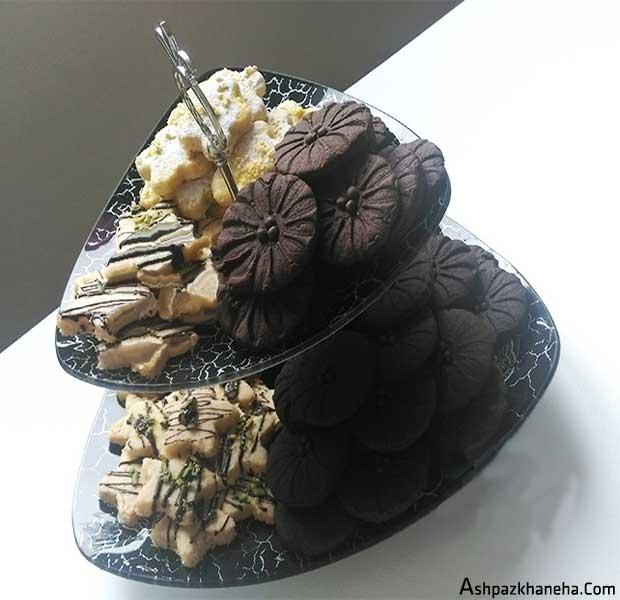 شیرینی شکلاتی بیسکویت ساده قالب گل
