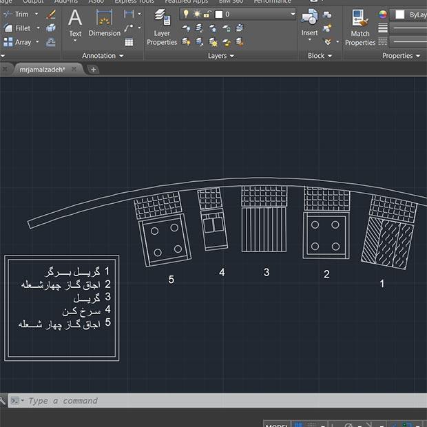 طراحی آشپزخانه صنعتی انحنادار