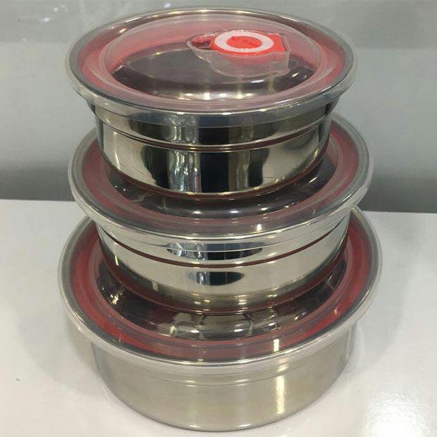ظروف استیل سه تیکه نگهداری غذا درب پلاستیکی