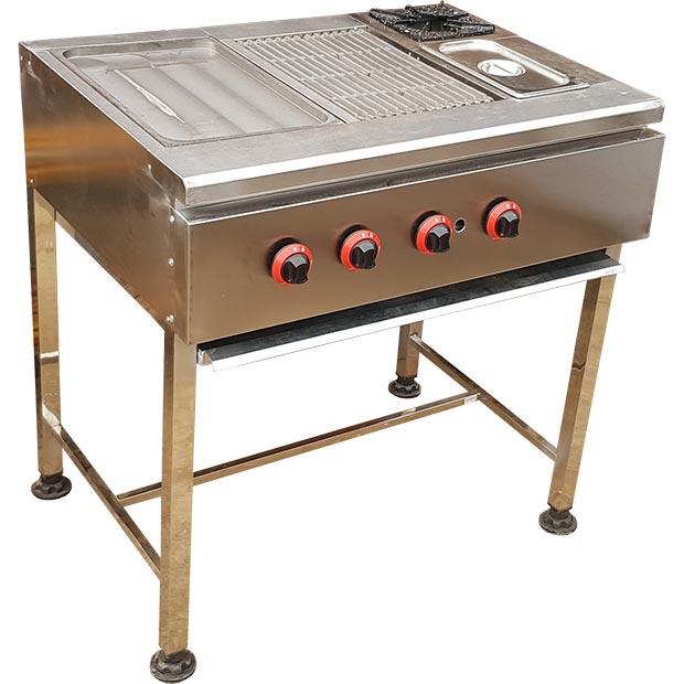 فر ساندویچی نیم تنه 4 کاره با سینی چدنی روغنی ذغالی شعله سرخکن