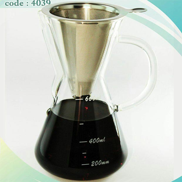 قهوه ساز کمکس سه کاپ شیشه ای با فیلتر استیل