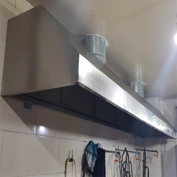 هود استیل صنعتی آشپزخانه پنج متری با دو کانال هواکش