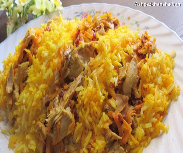 هویج پلو با مرغ ریش ریش