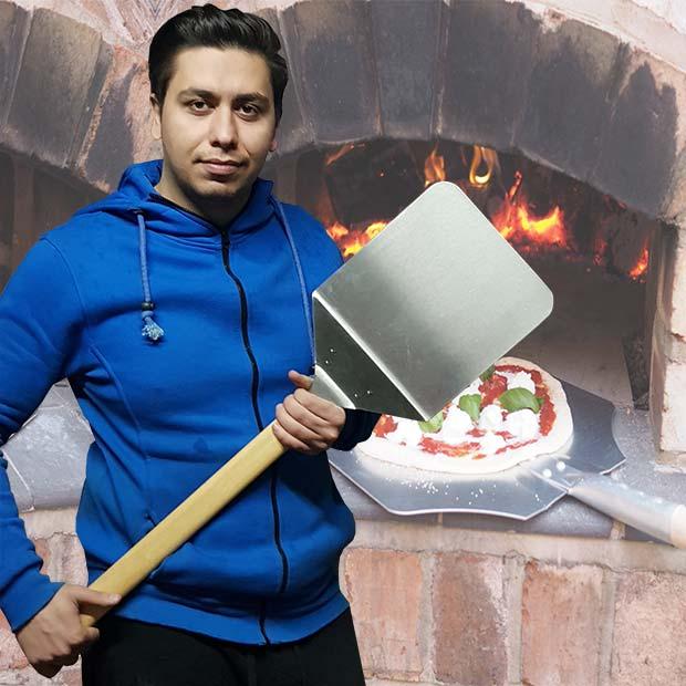 پارو پیتزا تنوری استیل دسته چوبی