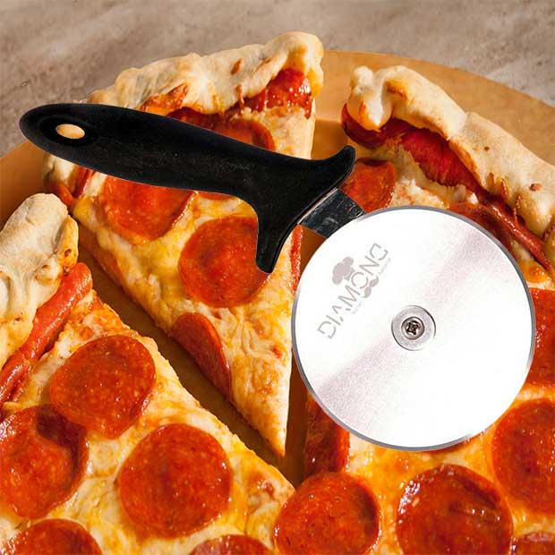 پیتزا بر تک چرخ کوچک دسته مشکی 10 سانتیمتر