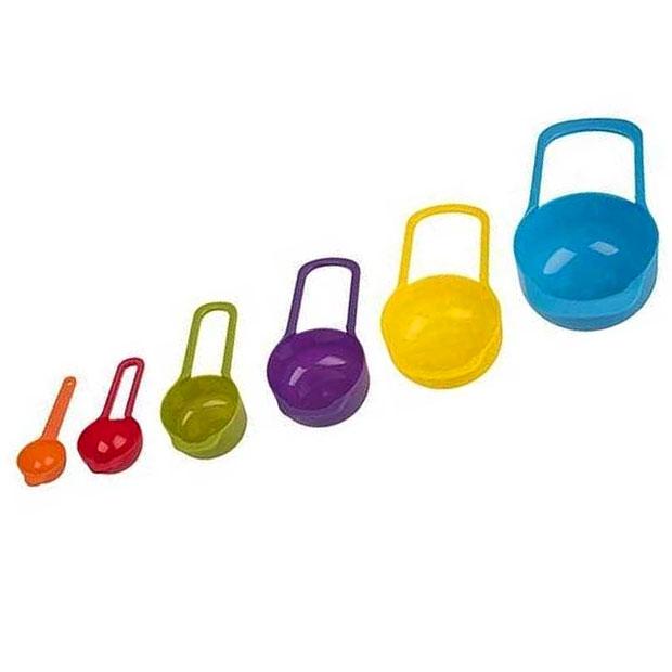 پیمانه پلاستیکی مدرج قاشقی در شش سایز رنگی