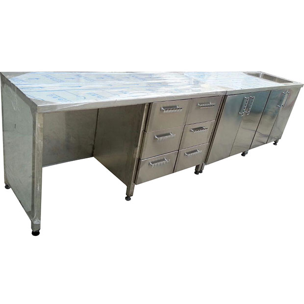 کابینت استیل صنعتی زمینی با سینک میز کشو