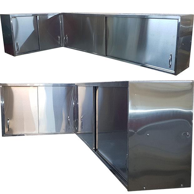 کابینت دیواری استیل دو طبقه آشپزخانه صنعتی