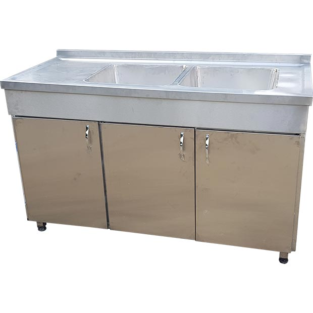 کابینت و سینک دو لگن استیل ظرفشویی صنعتی طول 150 سانتیمتر
