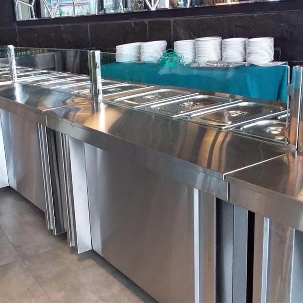 کانتر گرم خط سلف سرویس استیل ساده رستورانی