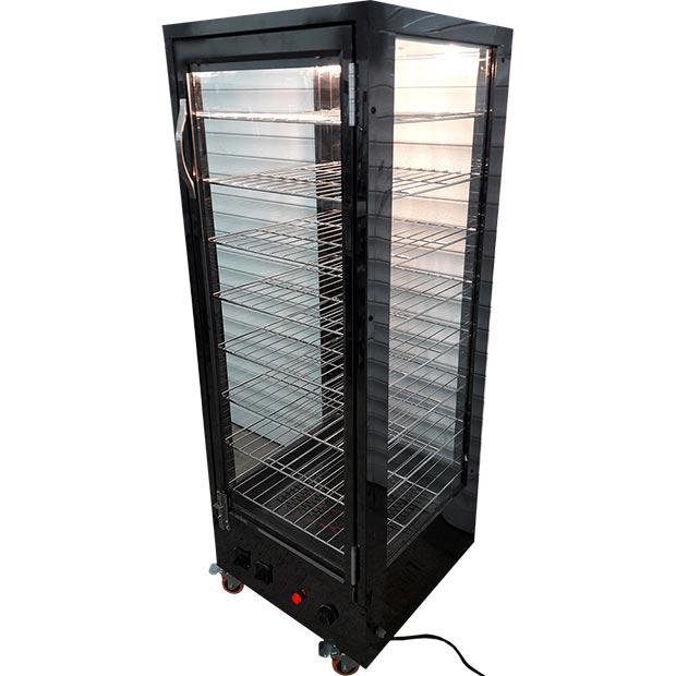 گرمخانه پیراشکی ویترینی هشت طبقه با استیل مشکی