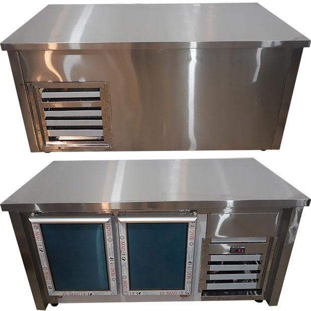 یخچال میز کاری دو درب طول یک متر و پنجاه سانتیمتر