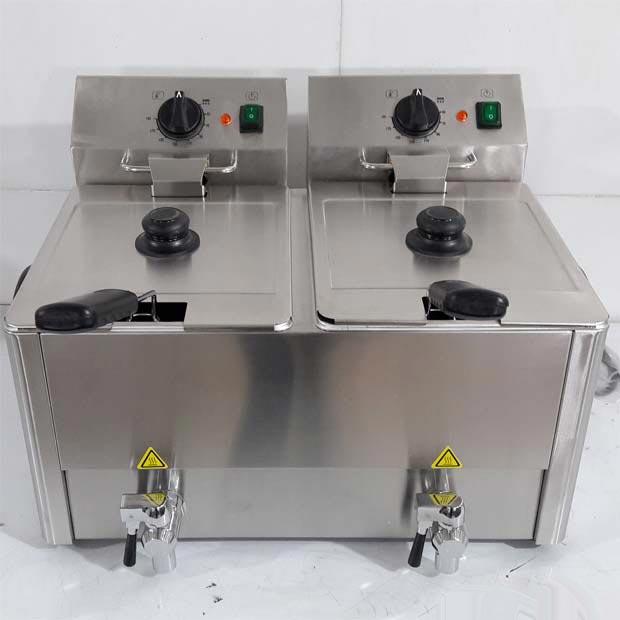 سرخ کن صنعتی برقی 2لگن 8لیتری با شیر تخلیه