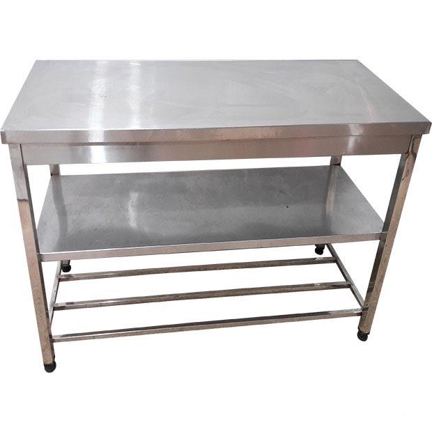 میز کار صنعتی استیل طول150سانتیمتر دوطبقه