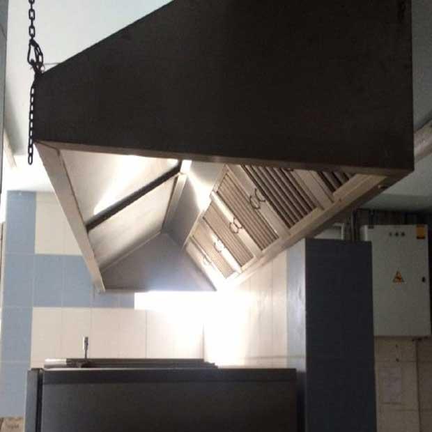 هود استیل سقفی با فیلتر دریچه دار